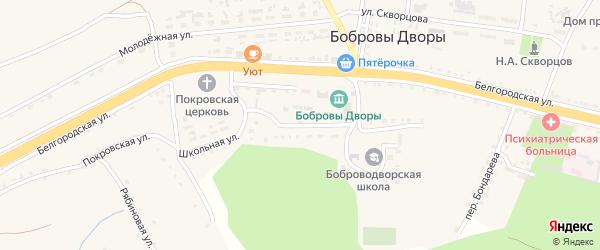 Школьная улица на карте села Бобровы Дворы Белгородской области с номерами домов