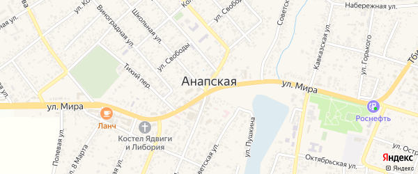 Луговой переулок на карте Анапской станицы Краснодарского края с номерами домов