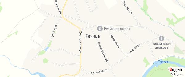 Карта села Речицы в Орловской области с улицами и номерами домов