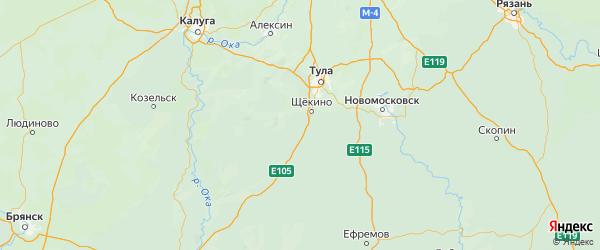 Карта Щекинского района Тульской области с городами и населенными пунктами