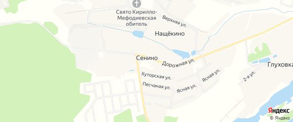 Карта деревни Сенино города Чехов в Московской области с улицами и номерами домов