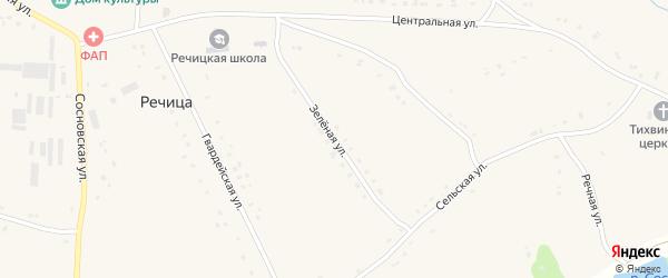 Зеленая улица на карте села Речицы Орловской области с номерами домов