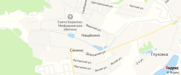 Карта деревни Нащекино города Чехов в Московской области с улицами и номерами домов