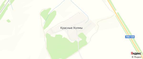 Карта деревни Красные Холмы в Тульской области с улицами и номерами домов