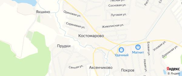 Карта деревни Костомарово города Чехов в Московской области с улицами и номерами домов