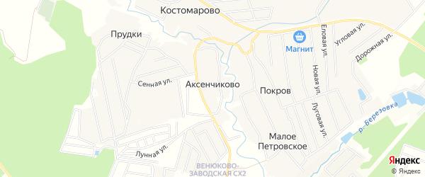 Карта деревни Аксенчиково города Чехов в Московской области с улицами и номерами домов