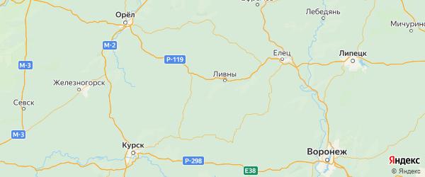 Карта Ливенского района Орловской области с городами и населенными пунктами