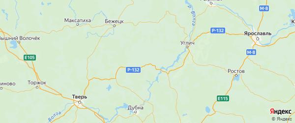 Карта Кашинского района Тверской области с городами и населенными пунктами
