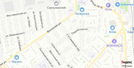 2-й Северный переулок в Серпухове с номерами домов на карте. Спутник и схема онлайн