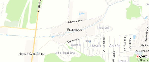 Карта деревни Рыжиково в Московской области с улицами и номерами домов