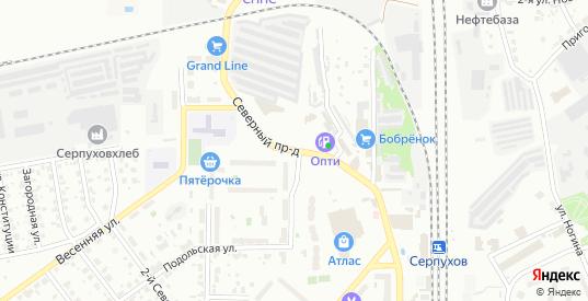 Северный проезд в Серпухове с номерами домов на карте. Спутник и схема онлайн