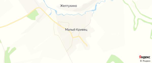 Карта деревни Малого Кривца в Орловской области с улицами и номерами домов
