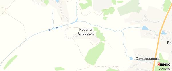 Карта деревни Красной Слободки в Тульской области с улицами и номерами домов