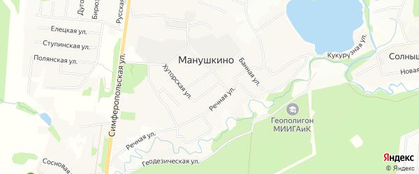 Карта деревни Манушкино города Чехов в Московской области с улицами и номерами домов