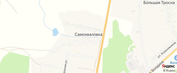 Счастливая улица на карте деревни Самохваловки Тульской области с номерами домов