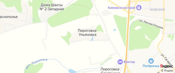 Карта деревни Пироговки-Ульяновки в Тульской области с улицами и номерами домов