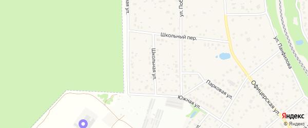Школьная улица на карте микрорайона Луговой с номерами домов