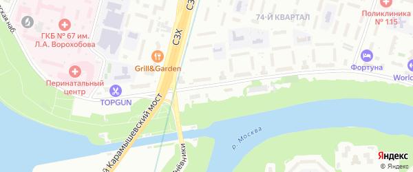 Карамышевская набережная на карте Москвы с номерами домов