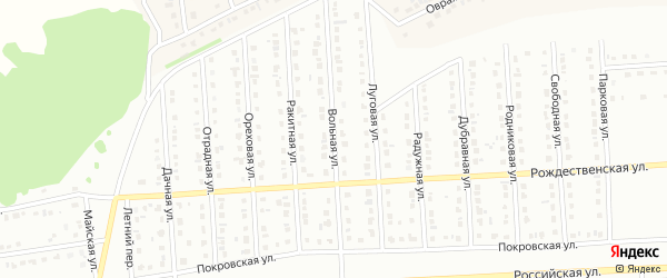 Вольная улица на карте Юбилейного микрорайона с номерами домов