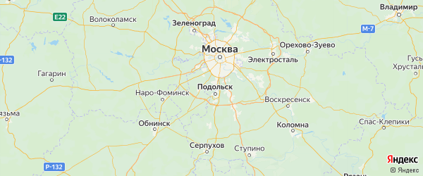 Карта Рязановского поселения города Москвы с городами и населенными пунктами
