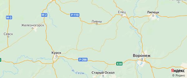 Карта Должанского района Орловской области с городами и населенными пунктами