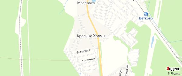 Карта деревни Красных Холмов города Чехов в Московской области с улицами и номерами домов