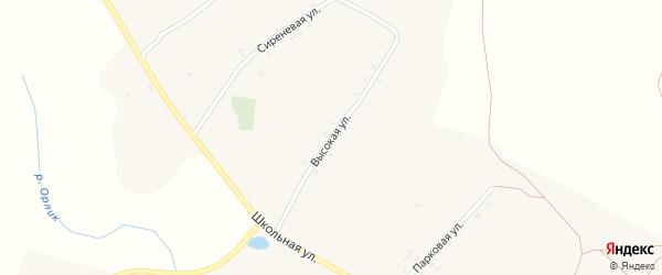 Высокая улица на карте села Богословки Белгородской области с номерами домов