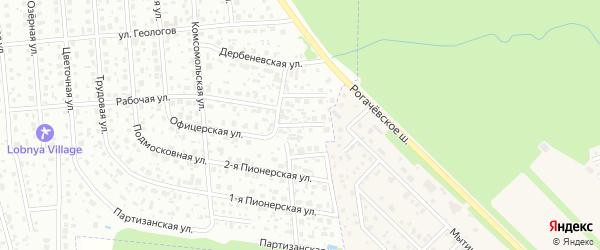 Офицерский 2-й переулок на карте Лобни с номерами домов