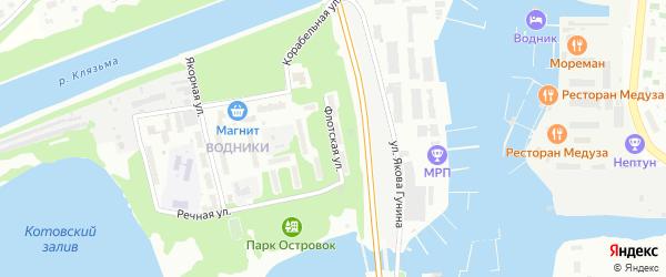 Флотская улица на карте Долгопрудного с номерами домов