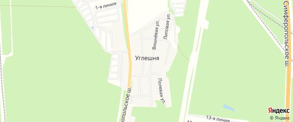 Карта деревни Углешня города Чехов в Московской области с улицами и номерами домов