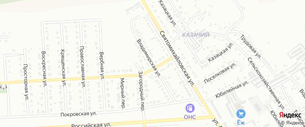 Владимирская улица на карте Юбилейного микрорайона с номерами домов