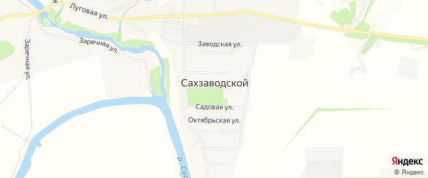 Карта Сахзаводского поселка в Орловской области с улицами и номерами домов