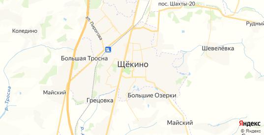 Карта Щекино с улицами и домами подробная. Показать со спутника номера домов онлайн