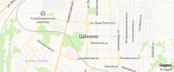 Территория ГСК Автомотолюбитель N 12 на карте Щекино с номерами домов