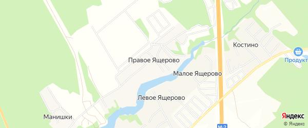 Карта деревни Правое Ящерово в Московской области с улицами и номерами домов