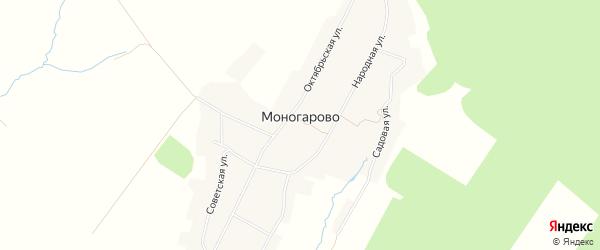 Карта деревни Моногарово в Орловской области с улицами и номерами домов
