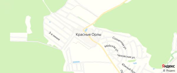 Карта деревни Красных Орлов города Чехов в Московской области с улицами и номерами домов