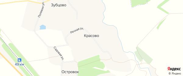 Карта деревни Красово в Орловской области с улицами и номерами домов