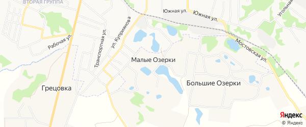 Карта деревни Малые Озерки в Тульской области с улицами и номерами домов