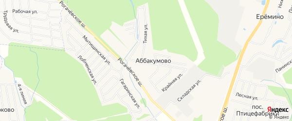 Карта деревни Аббакумова города Мытищи в Московской области с улицами и номерами домов