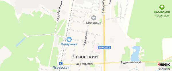 Карта Львовского микрорайона города Подольска в Московской области с улицами и номерами домов