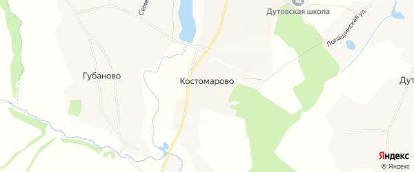 Карта деревни Костомарово в Орловской области с улицами и номерами домов