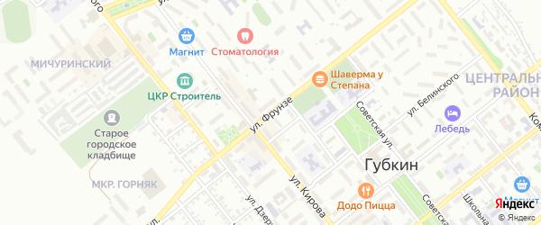 Улица Фрунзе на карте Губкина с номерами домов