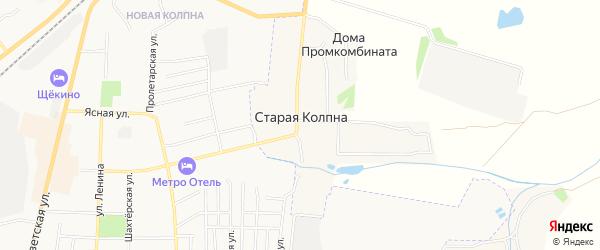 Карта села Старой Колпны в Тульской области с улицами и номерами домов