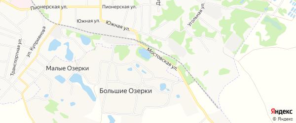 Карта деревни Большие Озерки в Тульской области с улицами и номерами домов