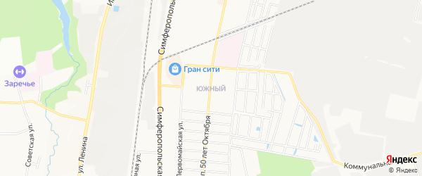 Карта Южного поселка города Климовска в Московской области с улицами и номерами домов