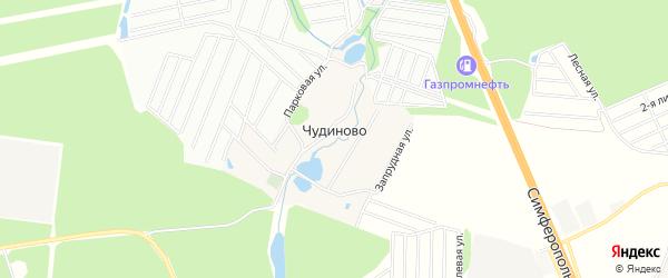 Карта деревни Чудиново города Чехов в Московской области с улицами и номерами домов
