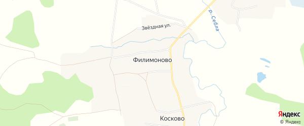Карта деревни Филимоново в Ярославская области с улицами и номерами домов
