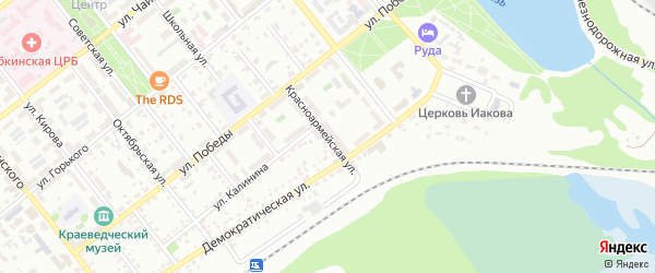 Красноармейская улица на карте Губкина с номерами домов