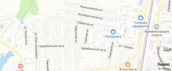 Светлая улица на карте Щербинки с номерами домов